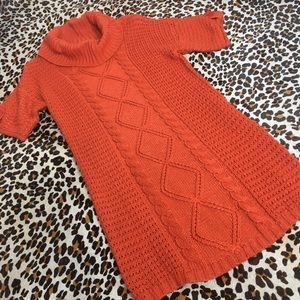 orange cowl neck Cable knit sweater tunic